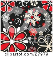 Clipart Illustration Of White And Red Daisy Flowers And Swirls Over A Black Background by KJ Pargeter