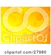 Orange And Yellow Background Of Waves Flowers Circles And Butterflies