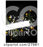 Clipart Illustration Of A Blank White Text Box Bordered By Orange Flowers And Green Vines Over A Black Grid Background by KJ Pargeter