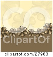 Clipart Illustration Of A Line Of Brown Daisy Flowers Bordering A Brown Wave From A Beige Background With Faded Flowers by KJ Pargeter