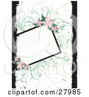 Blank White Text Box Bordered By Green Vines And Pink Lilies Over A White Background With Black Grunge