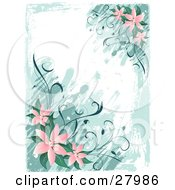 Vertical Background Of Pink Lily Flowers And Green Leaves Over Paint Strokes On A White Background