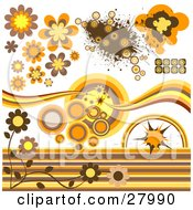 Group Of Circular Flower And Grunge Design Elements In Brown Orange And Yellow Tones