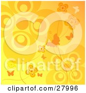 Clipart Illustration Of Orange And Yellow Butterflies And Flowers On A Gradient Background