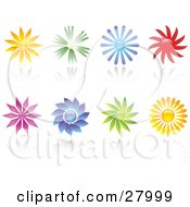 Clipart Illustration Of A Set Of Orange Green Blue Red Purple And Yellow Flowers With Reflections On A White Background