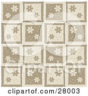 Clipart Illustration Of A Patterned Background Of Daisies And Dots On Brown And Beige Squares by KJ Pargeter