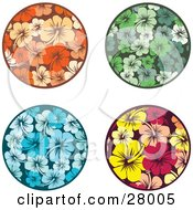Clipart Illustration Of A Set Of Orange Green Blue Yellow And Pink Circular Hibiscus Flower Design Elements