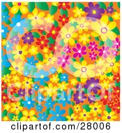 Clipart Illustration Of A Colorful Background Of Blue Yellow Purple And Red Flowers And Leaves Over Orange