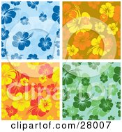 Clipart Illustration Of A Set Of Blue Orange Yellow And Green Hibiscus Backgrounds