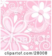 Clipart Illustration Of A Pink Background With Swirls Stars And Pink And White Flowers by KJ Pargeter
