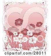 Clipart Illustration Of A Background Of White And Pink Flowers Bordered By White Grunge