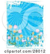 Clipart Illustration Of A Colorful Garden Of Flowers Under Rays Of Light In A Blue Sky With White Grunge And Scratch Texture by KJ Pargeter