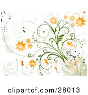 Clipart Illustration Of A Grunge Background Of Orange Flowers On A Green Plant With Green And Orange Paint Splatters