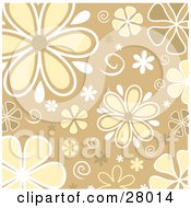 Clipart Illustration Of White Yellow And Brown Daisy Flowers And Swirls Over A Beige Background by KJ Pargeter