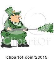 Chubby Leprechaun In Green Spraying Clovers From A Power Washer On St Patricks Day