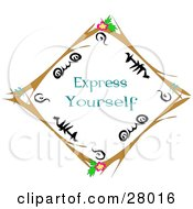 Clipart Illustration Of A Brown Twig Diamond Border With Black Designs And Pink Flowers Over White With Express Yourself Text by bpearth
