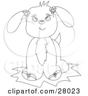 Clipart Illustration Of A Black And White Coloring Book Page Of An Adorable Puppy Dog With Flowers On Its Ears Facing Front