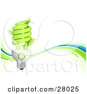 Leaves Sprouting From A Green Spiral Lightbulb Over A White Background With Green And Blue Waves