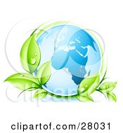 Clipart Illustration Of A Blue Earth Globe Circled By Green Dew Covered Leaves