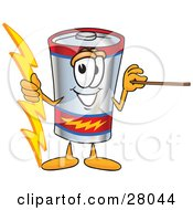 Clipart Illustration Of A Battery Mascot Cartoon Character Holding A Bolt Of Energy And A Pointer Stick by Toons4Biz