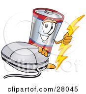 Battery Mascot Cartoon Character With A Computer Mouse