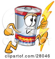 Battery Mascot Cartoon Character Holding A Bolt Of Energy And Running