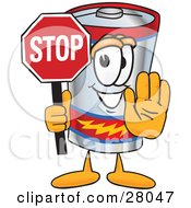 Clipart Illustration Of A Battery Mascot Cartoon Character Holding A Stop Sign