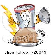 Battery Mascot Cartoon Character Serving A Thanksgiving Turkey On A Platter