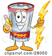Clipart Illustration Of A Battery Mascot Cartoon Character Holding A Pencil