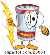 Battery Mascot Cartoon Character Holding A Bolt Of Energy And Looking Through A Magnifying Glass