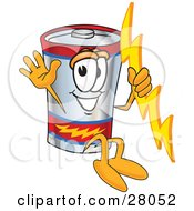 Battery Mascot Cartoon Character Holding A Bolt Of Energy And Jumping