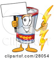 Battery Mascot Cartoon Character Holding A Bolt Of Energy And A Blank Sign