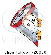 Battery Mascot Cartoon Character Peeking Around A Corner