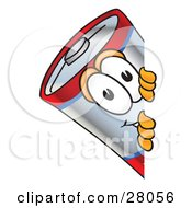 Clipart Illustration Of A Battery Mascot Cartoon Character Peeking Around A Corner