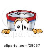 Battery Mascot Cartoon Character Peeking Over A Surface