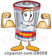 Clipart Illustration Of A Battery Mascot Cartoon Character Flexing His Arm Muscles by Toons4Biz