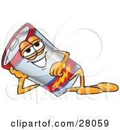 Battery Mascot Cartoon Character Reclined