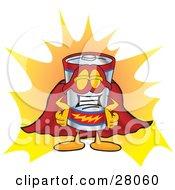 Battery Mascot Cartoon Character Dressed As A Super Hero