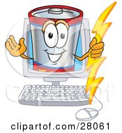 Battery Mascot Cartoon Character Holding A Bolt Of Energy And Waving In A Computer Screen