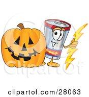 Battery Mascot Cartoon Character With A Carved Halloween Pumpkin