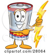 Clipart Illustration Of A Battery Mascot Cartoon Character Holding A Bolt Of Energy And Pointing To The Right by Toons4Biz