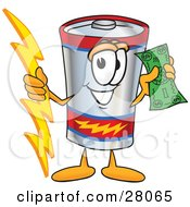 Clipart Illustration Of A Battery Mascot Cartoon Character Holding A Bolt Of Energy And A Green Dollar Bill