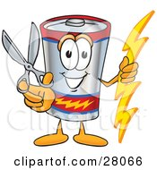 Battery Mascot Cartoon Character Holding A Pair Of Scissors