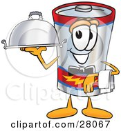 Clipart Illustration Of A Battery Mascot Cartoon Character Dressed As A Waiter And Holding A Serving Platter