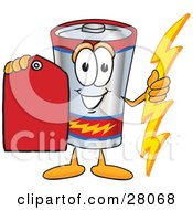 Battery Mascot Cartoon Character Holding A Bolt Of Energy And A Red Sales Price Tag
