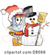 Clipart Illustration Of A Battery Mascot Cartoon Character Wearing A Santa Hat And Posing With A Snowman On Christmas by Toons4Biz