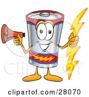 Battery Mascot Cartoon Character Holding A Bolt Of Energy And Megaphone