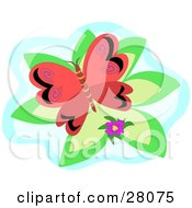Clipart Illustration Of A Red Butterfly With Black Designs And Pink Swirls Over A Green And Blue Background With A Purple Flower by bpearth