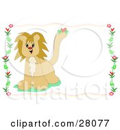 Cute Male Lion With A Heart On His Tail Over A White Stationery Background Bordered By Flowers
