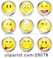 Clipart Illustration Of A Set Of Yellow Emoticon Faces Circled In Chrome